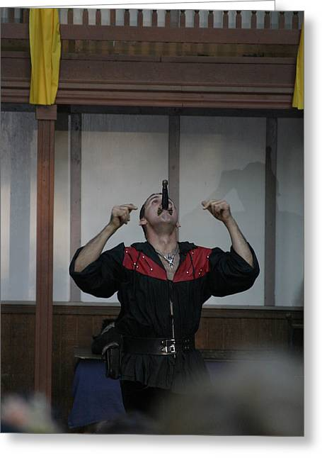 Rennfest Greeting Cards - Maryland Renaissance Festival - Johnny Fox Sword Swallower - 1212111 Greeting Card by DC Photographer