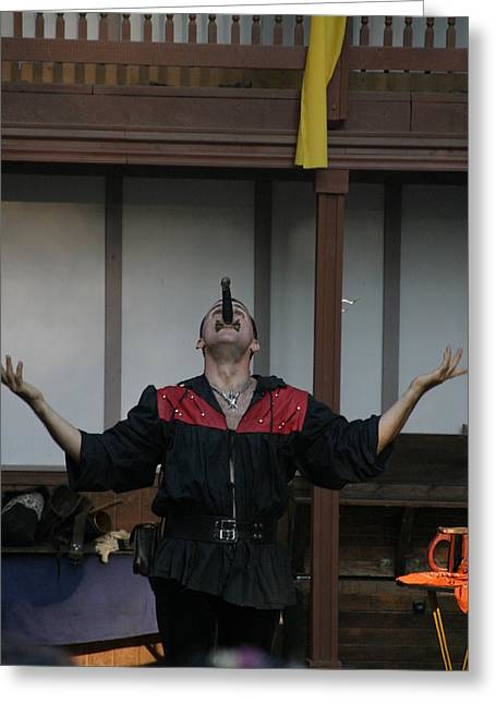 Rennfest Greeting Cards - Maryland Renaissance Festival - Johnny Fox Sword Swallower - 1212112 Greeting Card by DC Photographer