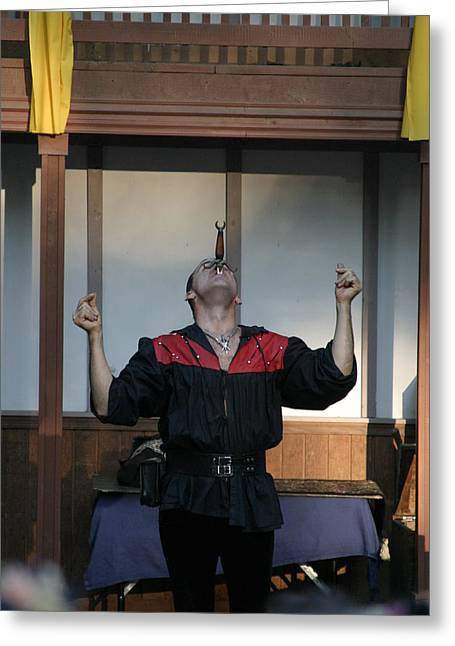 Rennfest Greeting Cards - Maryland Renaissance Festival - Johnny Fox Sword Swallower - 1212117 Greeting Card by DC Photographer