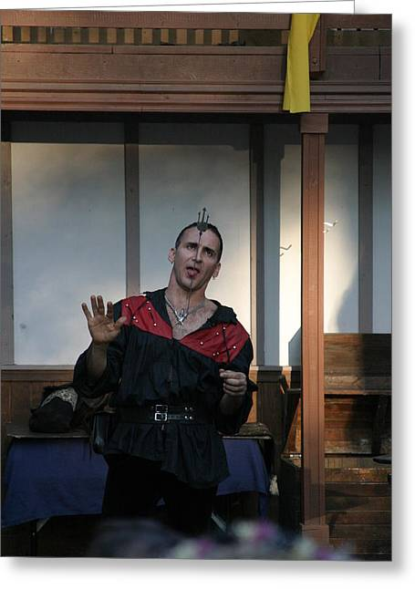 Fox Greeting Cards - Maryland Renaissance Festival - Johnny Fox Sword Swallower - 1212118 Greeting Card by DC Photographer