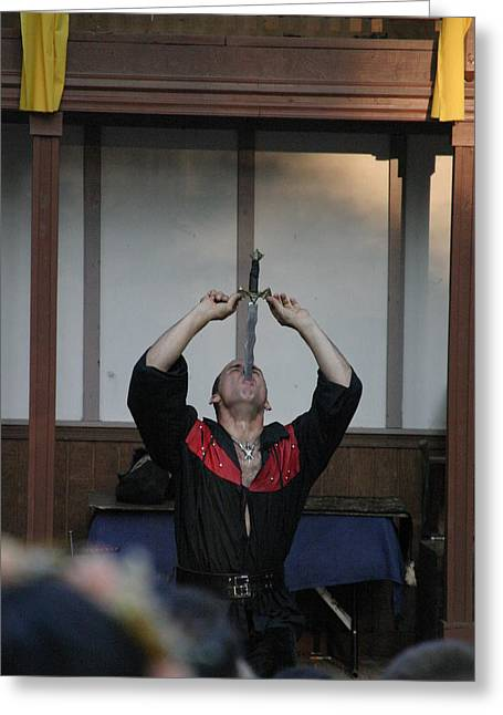 Sword Greeting Cards - Maryland Renaissance Festival - Johnny Fox Sword Swallower - 1212124 Greeting Card by DC Photographer
