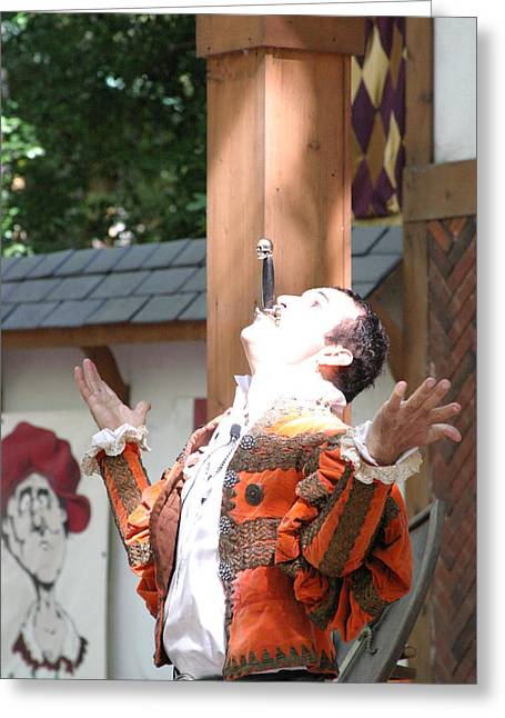Swallower Greeting Cards - Maryland Renaissance Festival - Johnny Fox Sword Swallower - 121217 Greeting Card by DC Photographer