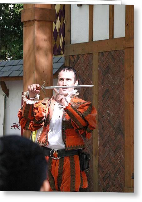 Maryland Renaissance Festival - Johnny Fox Sword Swallower - 121225 Greeting Card by DC Photographer
