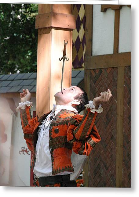 Aged Greeting Cards - Maryland Renaissance Festival - Johnny Fox Sword Swallower - 121229 Greeting Card by DC Photographer