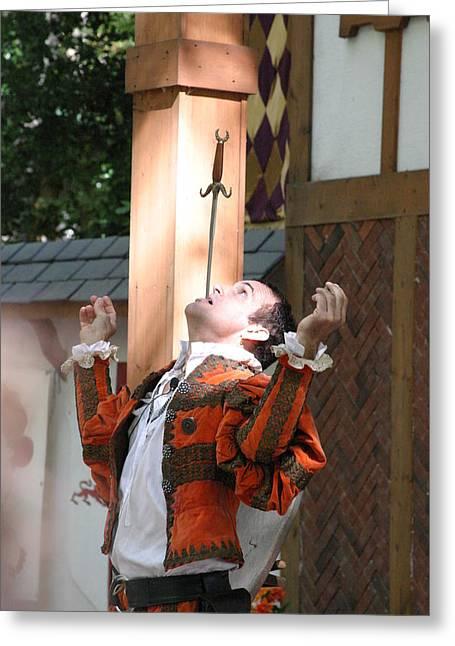 Maryland Renaissance Festival - Johnny Fox Sword Swallower - 121230 Greeting Card by DC Photographer