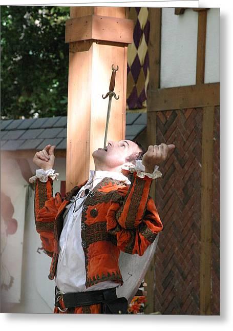 Maryland Renaissance Festival - Johnny Fox Sword Swallower - 121232 Greeting Card by DC Photographer