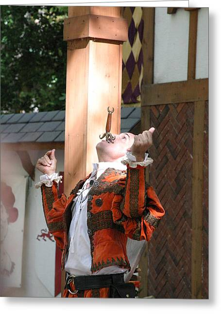 Rennfest Greeting Cards - Maryland Renaissance Festival - Johnny Fox Sword Swallower - 121234 Greeting Card by DC Photographer