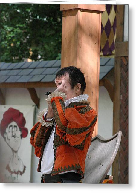 Swallower Greeting Cards - Maryland Renaissance Festival - Johnny Fox Sword Swallower - 121240 Greeting Card by DC Photographer