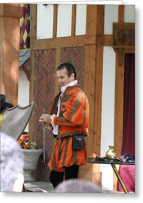 Fox Greeting Cards - Maryland Renaissance Festival - Johnny Fox Sword Swallower - 121241 Greeting Card by DC Photographer