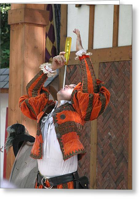 Rennfest Greeting Cards - Maryland Renaissance Festival - Johnny Fox Sword Swallower - 121244 Greeting Card by DC Photographer