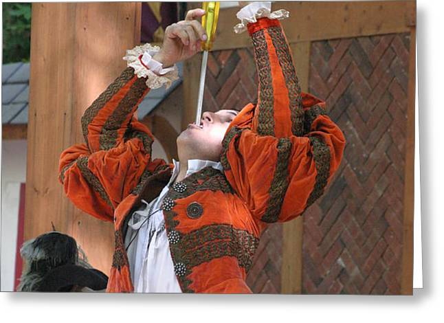 Maryland Renaissance Festival - Johnny Fox Sword Swallower - 121244 Greeting Card by DC Photographer