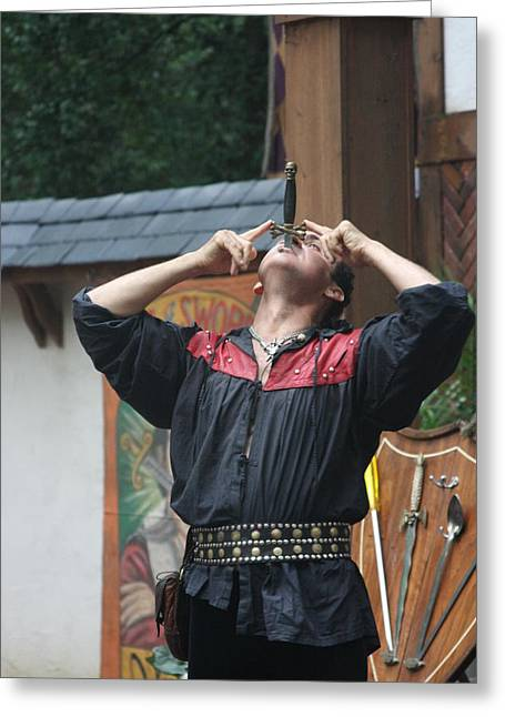 Rennfest Greeting Cards - Maryland Renaissance Festival - Johnny Fox Sword Swallower - 121263 Greeting Card by DC Photographer
