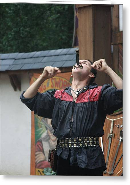 Rennfest Greeting Cards - Maryland Renaissance Festival - Johnny Fox Sword Swallower - 121264 Greeting Card by DC Photographer