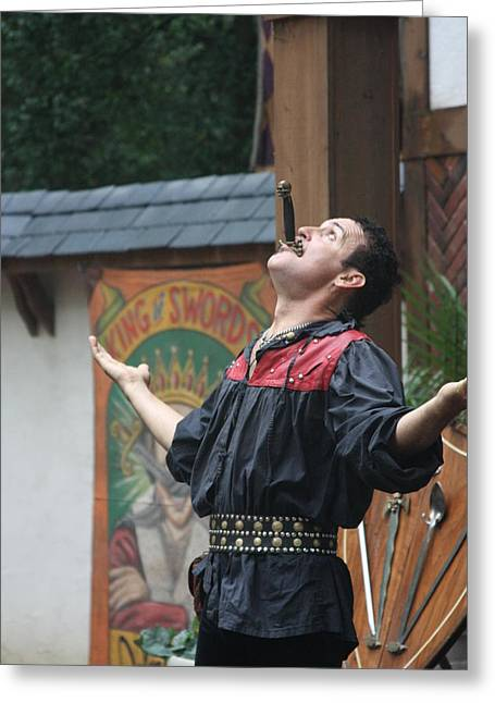 Maryland Renaissance Festival - Johnny Fox Sword Swallower - 121265 Greeting Card by DC Photographer