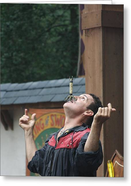 Rennfest Greeting Cards - Maryland Renaissance Festival - Johnny Fox Sword Swallower - 121269 Greeting Card by DC Photographer