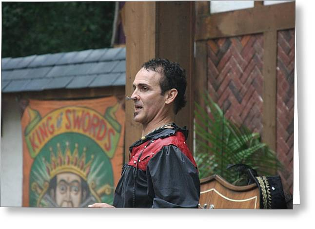 Maryland Renaissance Festival - Johnny Fox Sword Swallower - 121270 Greeting Card by DC Photographer