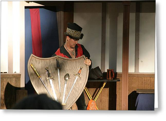Rennfest Greeting Cards - Maryland Renaissance Festival - Johnny Fox Sword Swallower - 121275 Greeting Card by DC Photographer