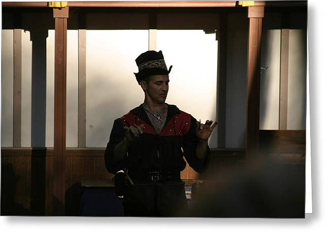 Aged Greeting Cards - Maryland Renaissance Festival - Johnny Fox Sword Swallower - 121280 Greeting Card by DC Photographer