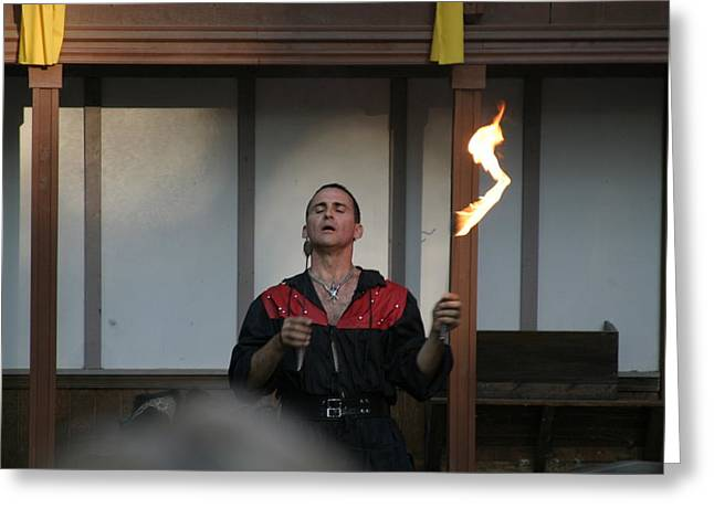 Rennfest Greeting Cards - Maryland Renaissance Festival - Johnny Fox Sword Swallower - 121286 Greeting Card by DC Photographer