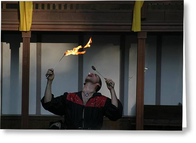 Rennfest Greeting Cards - Maryland Renaissance Festival - Johnny Fox Sword Swallower - 121287 Greeting Card by DC Photographer