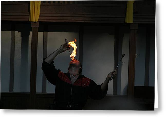 Rennfest Greeting Cards - Maryland Renaissance Festival - Johnny Fox Sword Swallower - 121289 Greeting Card by DC Photographer