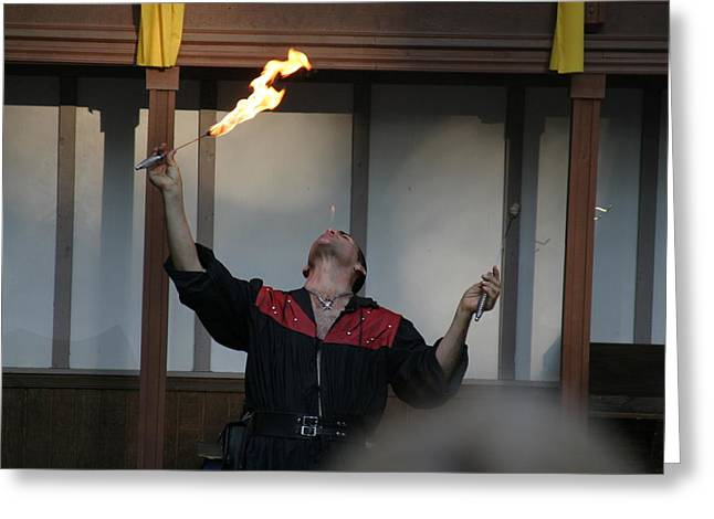 Rennfest Greeting Cards - Maryland Renaissance Festival - Johnny Fox Sword Swallower - 121291 Greeting Card by DC Photographer