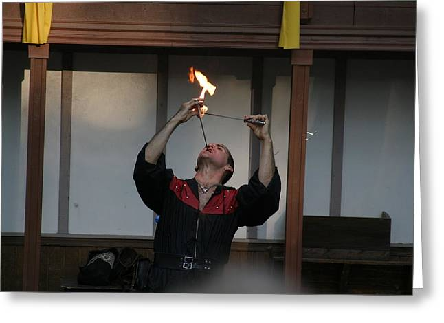 Rennfest Greeting Cards - Maryland Renaissance Festival - Johnny Fox Sword Swallower - 121293 Greeting Card by DC Photographer