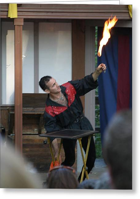 Rennfest Greeting Cards - Maryland Renaissance Festival - Johnny Fox Sword Swallower - 121295 Greeting Card by DC Photographer