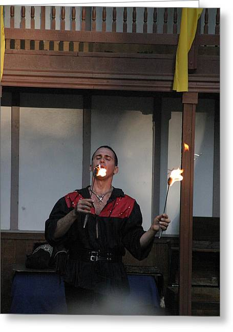 Costume Photographs Greeting Cards - Maryland Renaissance Festival - Johnny Fox Sword Swallower - 121296 Greeting Card by DC Photographer