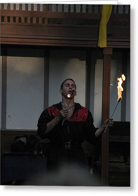 Rennfest Greeting Cards - Maryland Renaissance Festival - Johnny Fox Sword Swallower - 121299 Greeting Card by DC Photographer