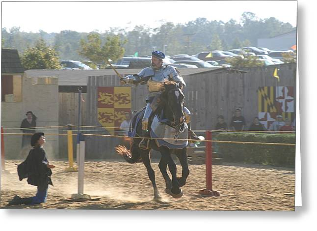 Fighting Greeting Cards - Maryland Renaissance Festival - Jousting and Sword Fighting - 1212160 Greeting Card by DC Photographer