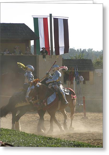 Fighting Greeting Cards - Maryland Renaissance Festival - Jousting and Sword Fighting - 1212177 Greeting Card by DC Photographer