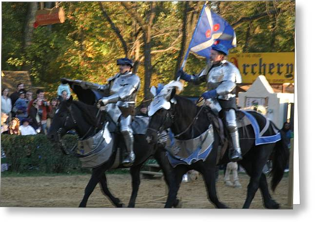 Jousting Greeting Cards - Maryland Renaissance Festival - Jousting and Sword Fighting - 121227 Greeting Card by DC Photographer
