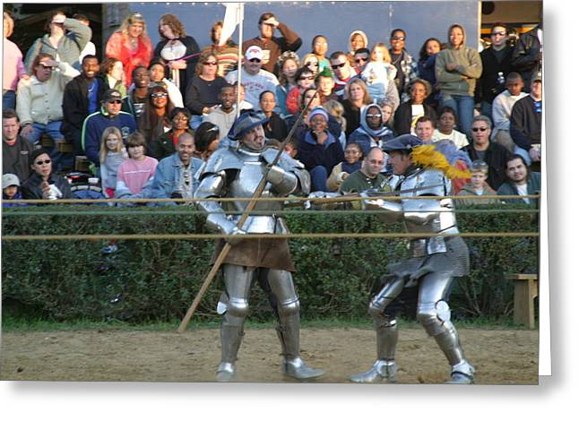 Medieval Greeting Cards - Maryland Renaissance Festival - Jousting and Sword Fighting - 121238 Greeting Card by DC Photographer