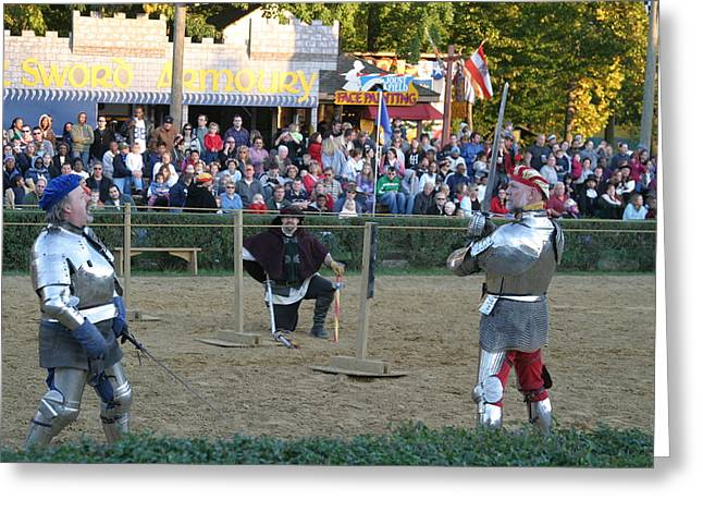 Fights Greeting Cards - Maryland Renaissance Festival - Jousting and Sword Fighting - 121239 Greeting Card by DC Photographer