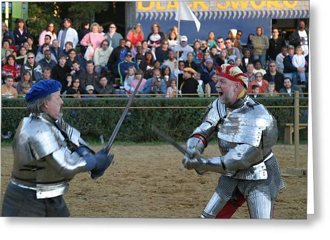 Fighting Greeting Cards - Maryland Renaissance Festival - Jousting and Sword Fighting - 121241 Greeting Card by DC Photographer
