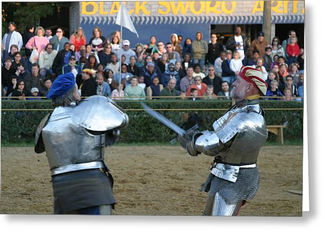 Fighting Greeting Cards - Maryland Renaissance Festival - Jousting and Sword Fighting - 121242 Greeting Card by DC Photographer