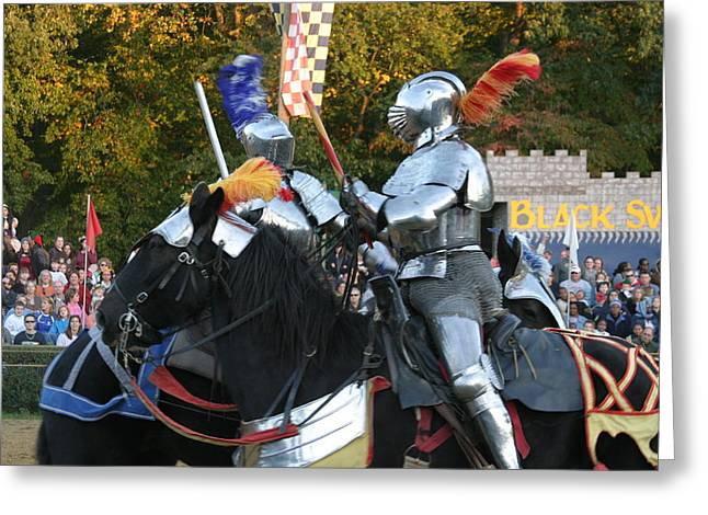 Knight Greeting Cards - Maryland Renaissance Festival - Jousting and Sword Fighting - 121245 Greeting Card by DC Photographer