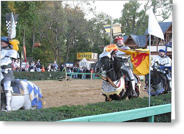 Middle Greeting Cards - Maryland Renaissance Festival - Jousting and Sword Fighting - 121259 Greeting Card by DC Photographer