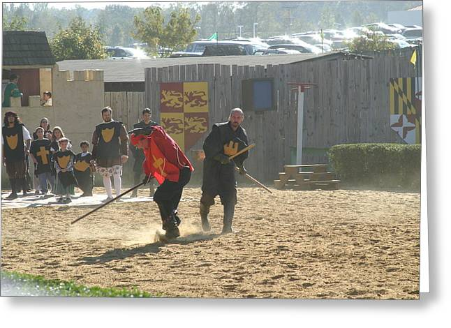 Rennfest Greeting Cards - Maryland Renaissance Festival - Jousting and Sword Fighting - 121277 Greeting Card by DC Photographer