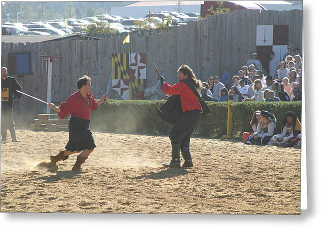 Fighting Greeting Cards - Maryland Renaissance Festival - Jousting and Sword Fighting - 121280 Greeting Card by DC Photographer