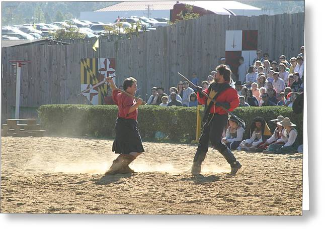 Costumes Greeting Cards - Maryland Renaissance Festival - Jousting and Sword Fighting - 121281 Greeting Card by DC Photographer