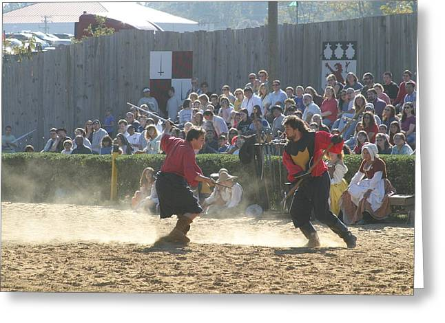 Fighting Greeting Cards - Maryland Renaissance Festival - Jousting and Sword Fighting - 121283 Greeting Card by DC Photographer