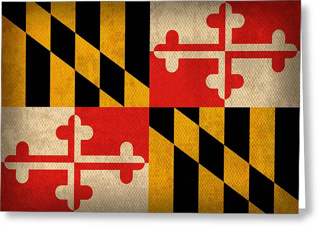 Flag Art Greeting Cards - Maryland State Flag Art on Worn Canvas Greeting Card by Design Turnpike