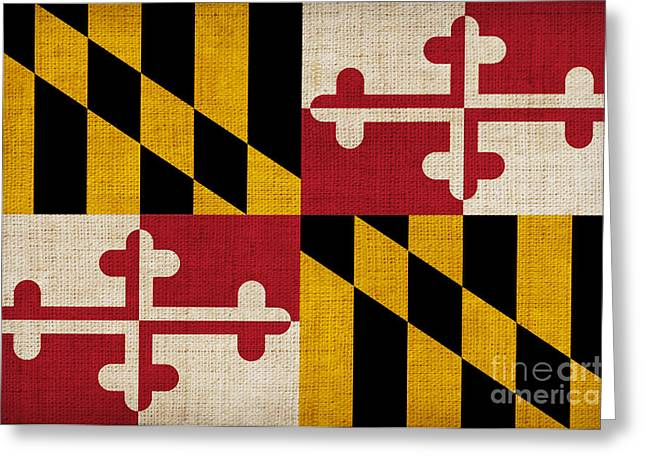 Maryland Greeting Cards - Maryland state flag Greeting Card by Pixel Chimp