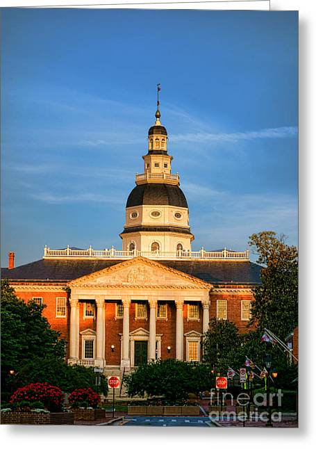 Historical Buildings Greeting Cards - Maryland State House at Sunset Greeting Card by Olivier Le Queinec