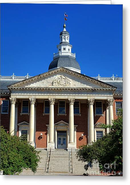 Annapolis Md Greeting Cards - Maryland State House in Annapolis Greeting Card by Olivier Le Queinec