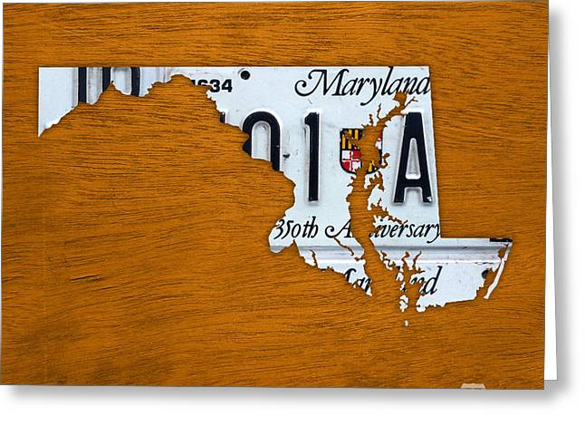 Maryland Greeting Cards - Maryland State License Plate Map Greeting Card by Design Turnpike
