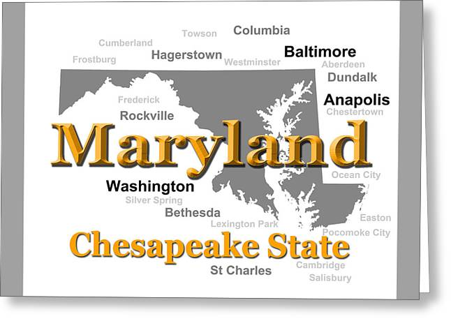 Rockville Greeting Cards - Maryland State Pride Map Silhouette  Greeting Card by Keith Webber Jr