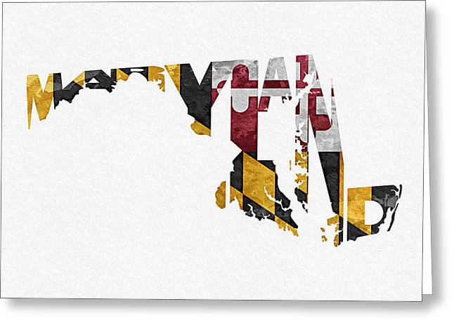 Bizarre Mixed Media Greeting Cards - Maryland Typographic Map Flag Greeting Card by Ayse Deniz